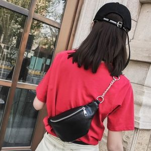 Handbags - Waist Bag Faux Black Leather Fanny Pack
